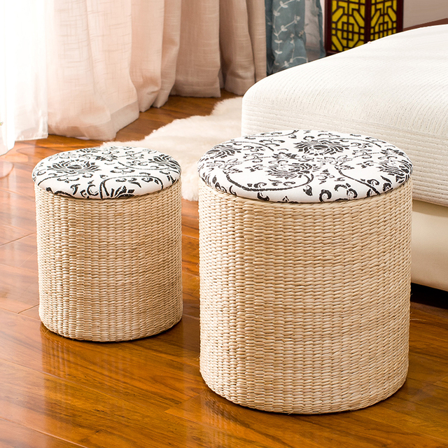Rattan Straw Storage Stool Change Shoes Stool Storage Stool Can Sit People  Covered Storage Box Sofa