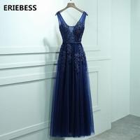 Sexy V Neck Lace Appliques Navy Blue Burgundy Evening Dresses Sashes Prom Gowns 2017 Women Party Gowns Vestido De Festa