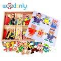 Игрушки для детей детские развивающие игрушки деревянные головоломки магнитного чертежной доске Детеныши одежда деревянные головоломки детские игрушки