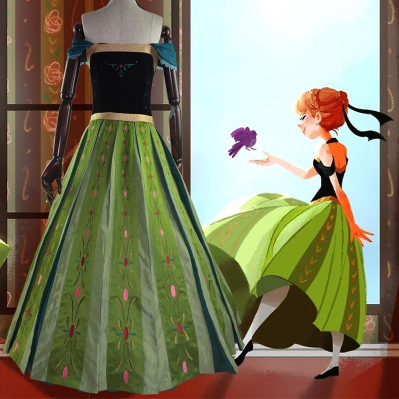 Snow Queen anna dress adult halloween princess anna Coronation cosplay costume Movie party women fancy dress Custom Made