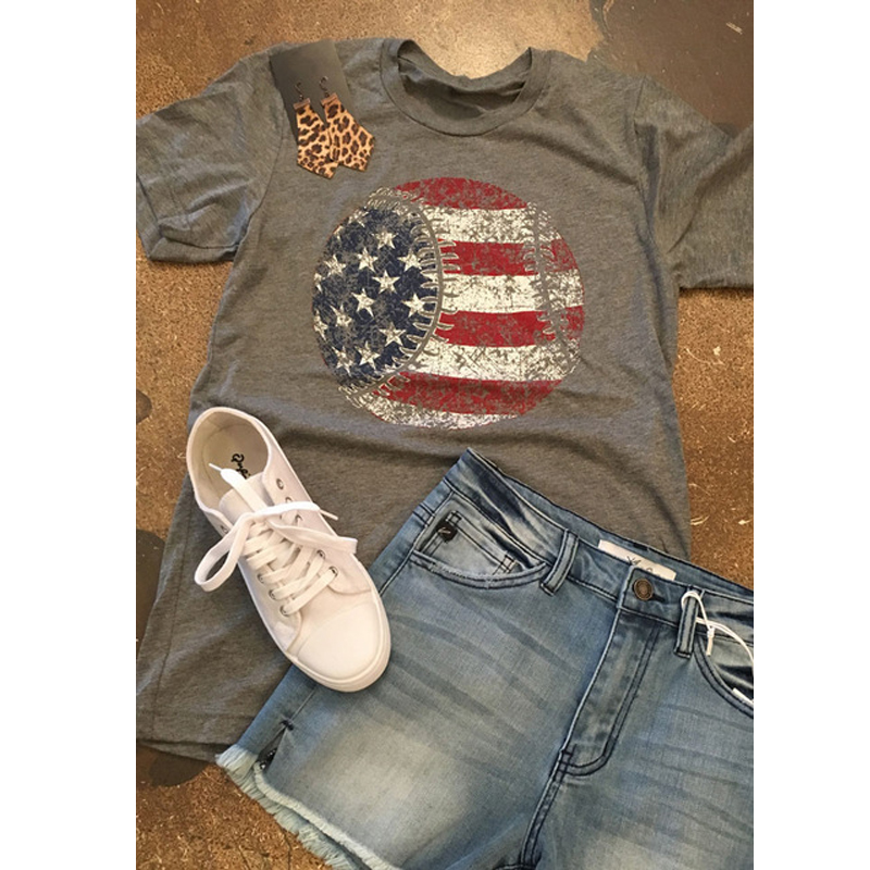 Chulianyouhuo T Shirts Women Clothing  American Flag Baseball Printed T-Shirts Top Tee Summer Short Sleeve O-neck T Shirts Tops