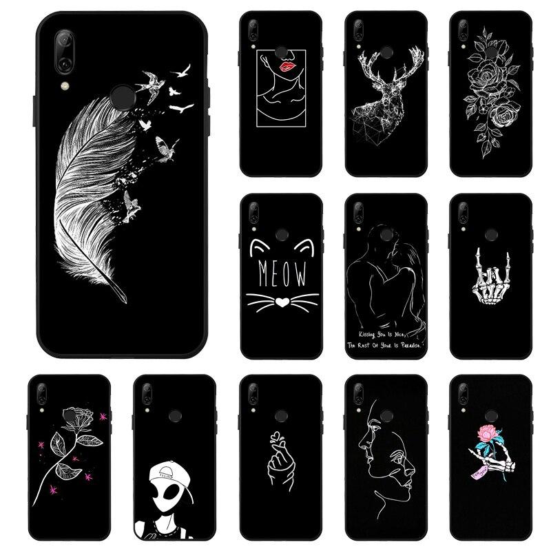 P Smart 2019 Fällen für Huawei P Smart 2019 Fall 3D Schwarz Lackiert Abdeckung Auf Für Huawei Y7 Y6 Y5 prime 2018 Y9 2019 Covers Stoßstange