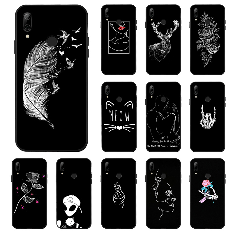 P Smart <font><b>2019</b></font> <font><b>Cases</b></font> for <font><b>Huawei</b></font> P Smart <font><b>2019</b></font> <font><b>Case</b></font> 3D Painted Black <font><b>Cover</b></font> On For <font><b>Huawei</b></font> <font><b>Y7</b></font> Y6 Y5 Prime 2018 Y9 <font><b>2019</b></font> <font><b>Covers</b></font> Bumper image