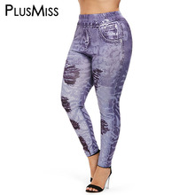 PlusMiss Plus Size 5XL XXXXL 3D Elastic Faux Denim Print Jeans Skinny Jeggings Women High Waist Leggings Big Legins Leggins