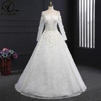 Wedding Dress Vestidos De Noiva Lace Dress 2018 Dresses Romantic Bride Dress Custom Made Boat Neck