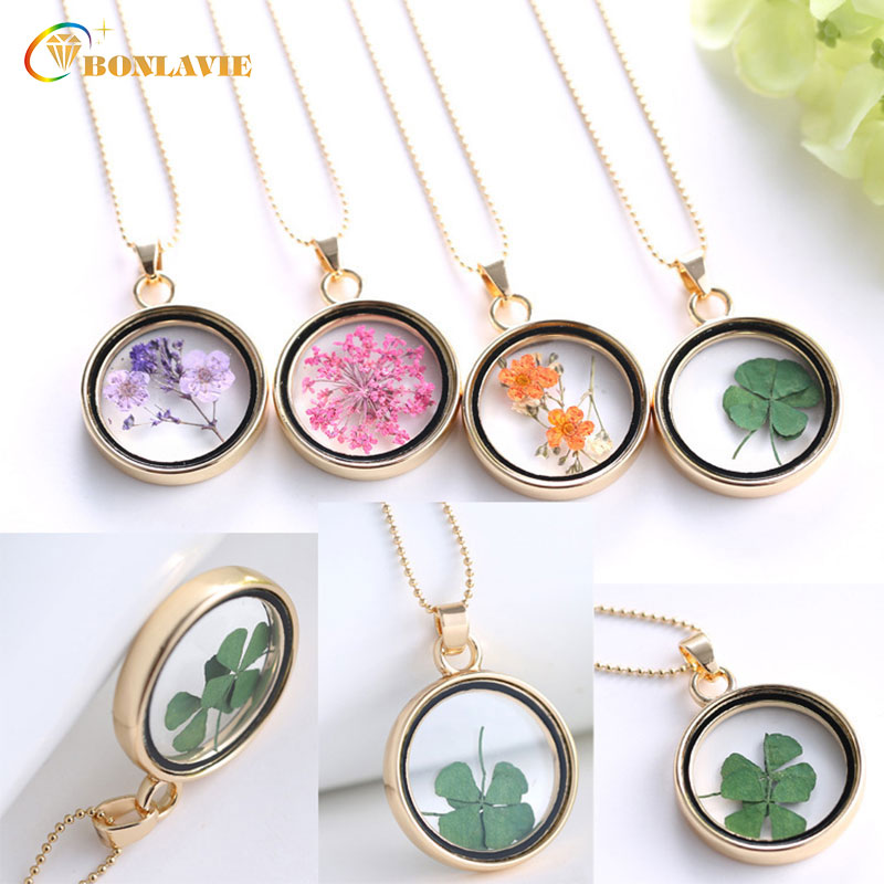 2018 Dried Flower Pendant Necklace Glass Ball Plant Flower Crystal Long Chain Necklace Gift Collier Femme