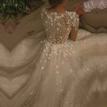 Shiny 3D Flower Lace Islamic Wedding Gowns Vestido De Noiva Princesa Luxo 2017 Hijab Girl Ivory