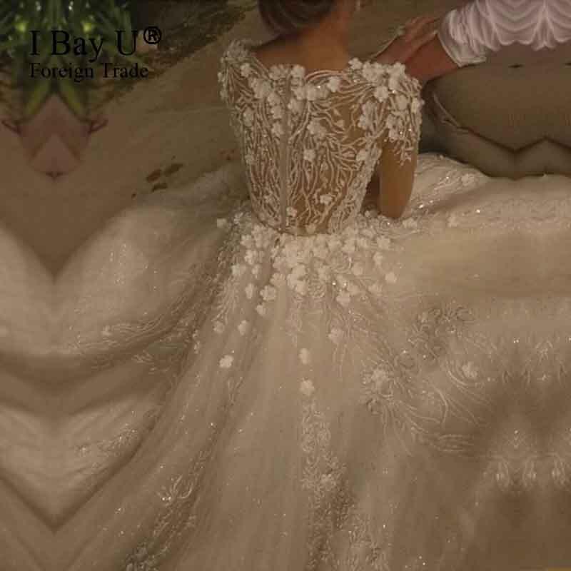 Shiny 3D Flower Lace Islamic Wedding Gowns Vestido De Noiva Princesa Luxo 2017 font b Hijab