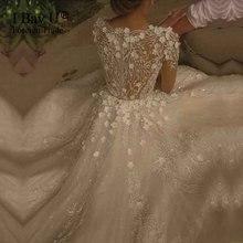 Shiny 3D Flower Lace Islamic Wedding Gowns Vestido De Noiva Princesa Luxo 2017 Hijab Girl Ivory Puffy Wedding Dresses Ball Gowns