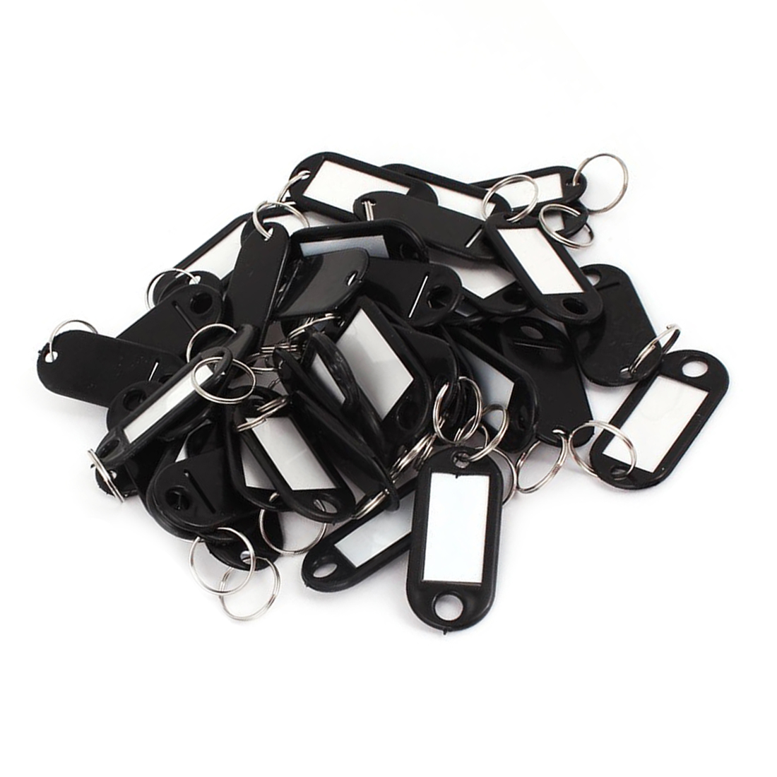 50pcs Plastic Luggage ID Card Name Tag Label Clip Holder Keyring Black
