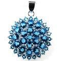 Círculo SheCrown Suíço Topázio Azul da Mulher Engagement Criado Pingente de Prata 32x25mm