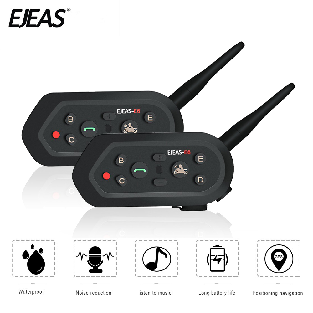 EJEAS 2 pièces casque casque Moto Interphone Bluetooth Interphone Moto casque Interphone Moto Moto Interphone pour 6 coureurs