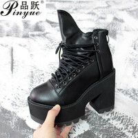 2018 Ankle Boots For Women Platform Shoes Round Toe Autumn Boots Thick High Heels Lacing Buckle Black Punk Boots Women