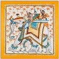 100 cm * 100 cm Sarja De Seda Tailand Elefante Eólica Nacional Das Mulheres 100% lenço de Seda Quadrado Impresso Lenço de Alta Qualidade 6134