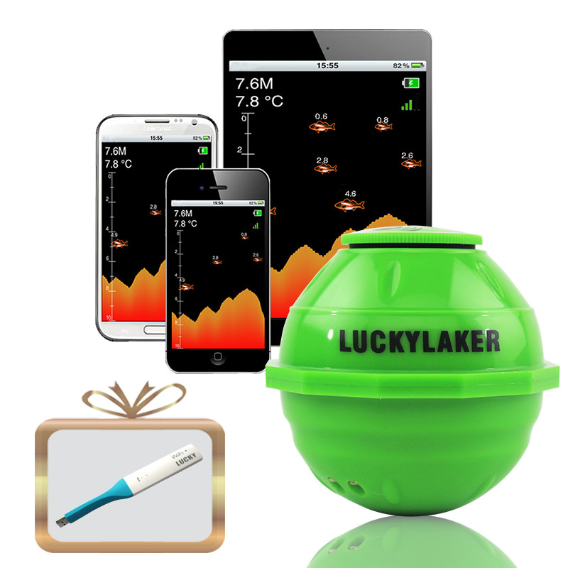 Lucky FF916 Wifi Fish Finder 45M/135ft Depth Sea Fish Detector Sonar Alarm Fishfinder Connect To Cellphone With Android IOS App эхолот lucky ff 916 wi fi