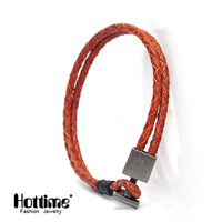 Hottime New Arrival 6 Color Choices Braided Adjustable Genuine Leather Popular Bracelet Cuff Women Men S