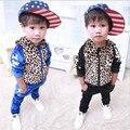 2017 Niños Juegos Juegos de Ropa de Niño Con Capucha Chicos Chándales Deportes Ropa Niños Conjuntos Niños Estampado de Leopardo Conjunto Deportivo infantil