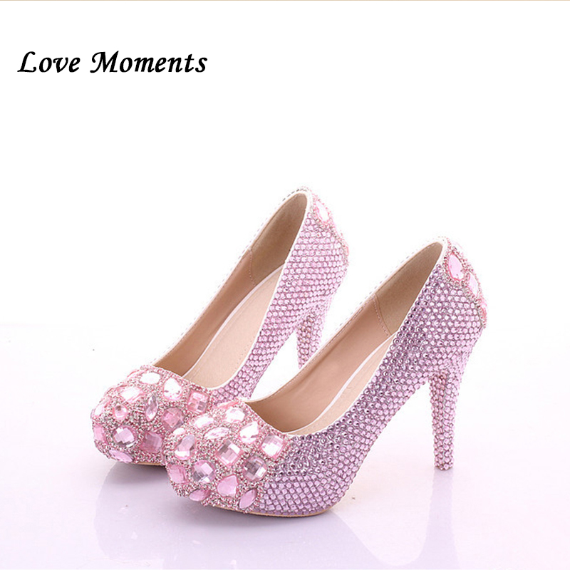 Love Moments pink crystal shoes bridesmaid Wedding shoes Woman dress high heeled platform shoes for woman Round Toe High shoes