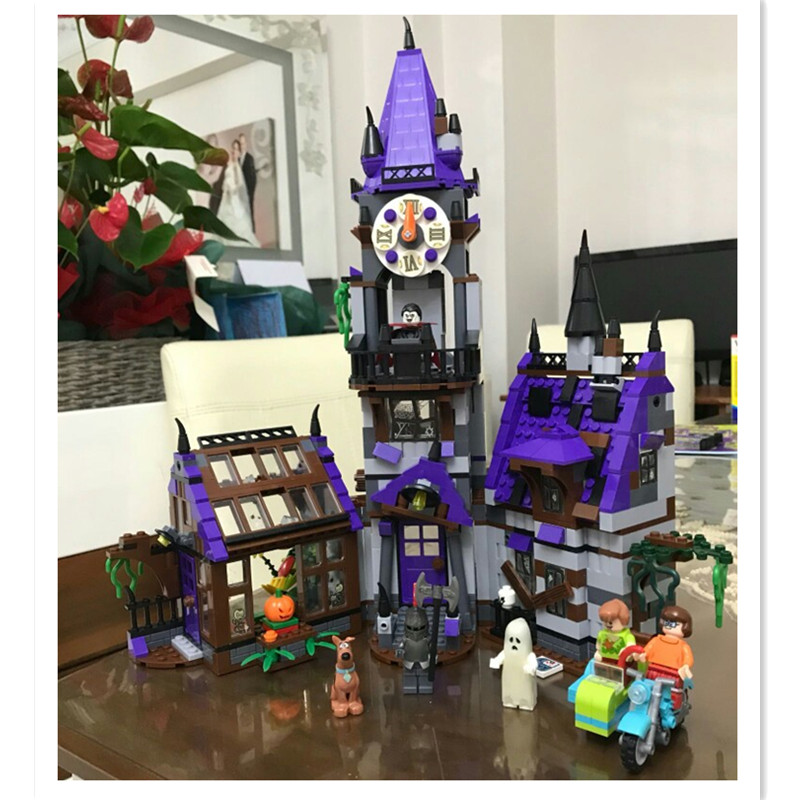 IN STOCK XYTMC 10432 860pcs Scooby Doo Mysterious Ghost House Building Block Toys Compatible 75904 Blocks For Children gift bela 10432 scooby doo figures mysterious ghost mansion 860pcs building blocks bricks educational toys for children gifts 75904