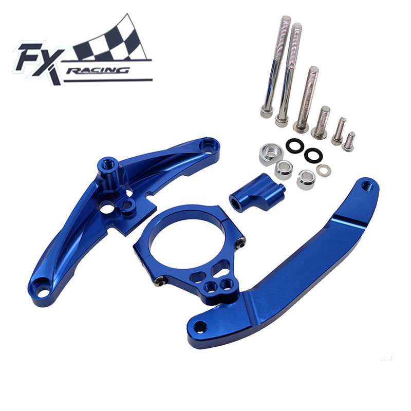 FXCNC Aluminum Motorcycle Steering Stabilizer Damper Mounting Bracket Support Kit For Yamaha FZ1 FAZER 2006 - 2015 2007 2008 09 motorcycle cnc steering damper mounting bracket for yamaha fz1 fazer 2006 2007 2008 2015