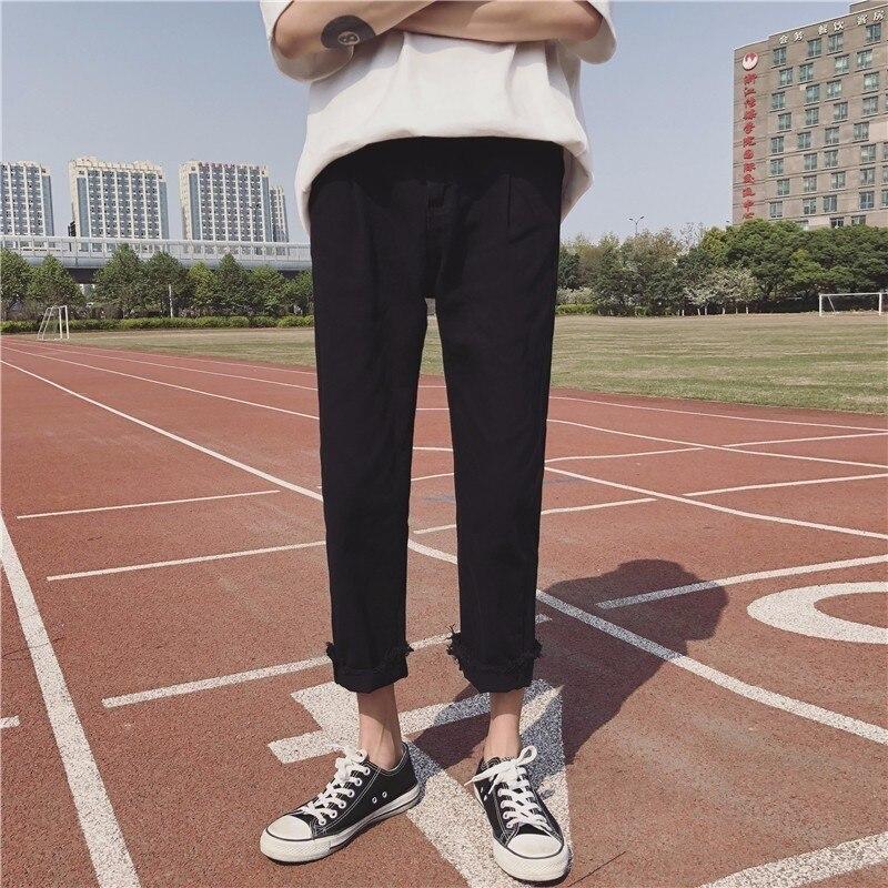 2018 New Korean Men Fashion Tide Solid Color Cowboy Ankle-Length Pants Casual Stretch Slim Fit Jeans Denim Trousers Homme M-2XL