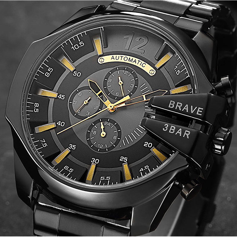 Mechanical Watch Automatic Self-Wind Men Wristwatch Auto Date Calendar Military Army Male Watch Gold Luxury Brand Relogios ks brand white gold auto date day 24 hour display black leather male clock wrist automatic self wind men mechanical watch ks246