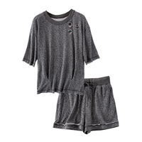 Beaded Terry 1 2 Sleeve Top And Shorts Women Casual 2 Piece Set 2017