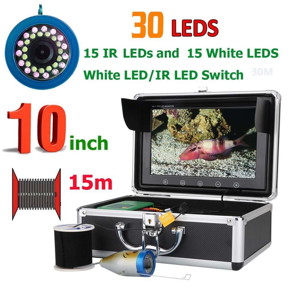 10 pouce 15 m 1000TVL Fish Finder Sous-Marine Pêche Caméra 15 pcs Blanc Led + 15 pcs Infrarouge Lampe Pour glace/Mer/Pêche en Rivière