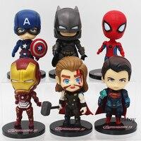 DC COMICS Marvel Super Heroes Superman Batman Iron Man Thor Homem Aranha Capitão América PVC Figuras Brinquedos 6 pçs/set 9-10 cm