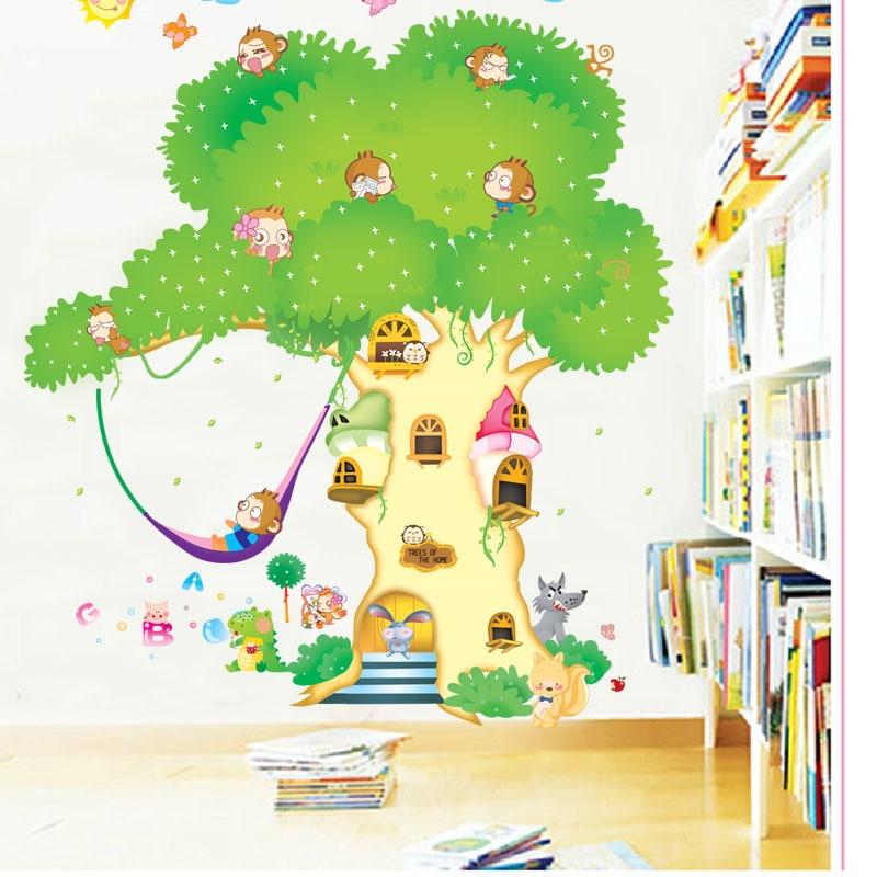poster wall art family tree wall decal Children bedroom Cartoon big