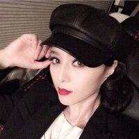 DL 10517 Wholesale 100 Top Quality Sheepskin Leather Newsboy Cap Octagonal Cap Benn Painter Hat Winter