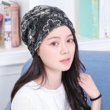 Autumn and winter Female double lace flower pattern multifunction scarf hat Chemotherapy Cap