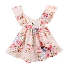 Новое летнее платье для девочек детская одежда Праздничное платье для девочек Дети Костюмы розовый платье с цветочным узором для девочек Лидер продаж