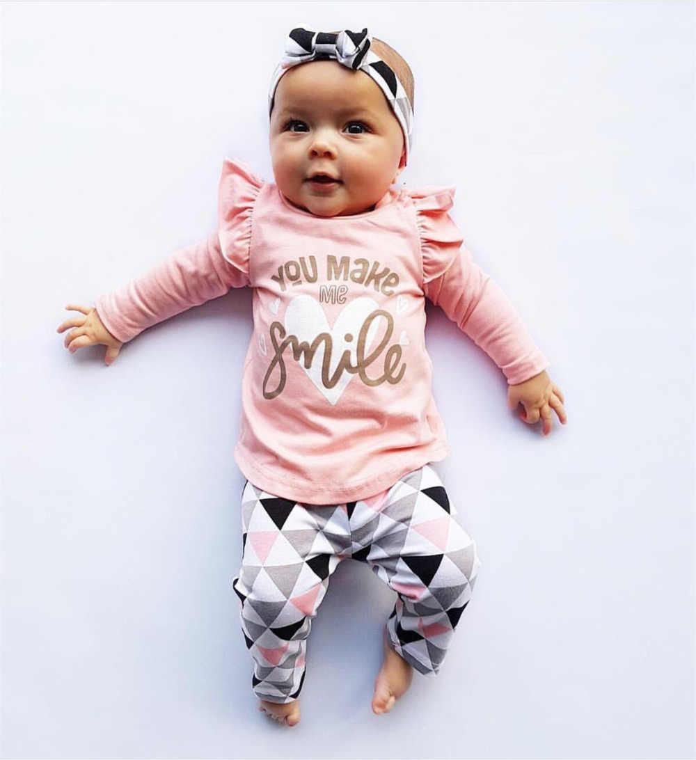 女の赤ちゃん服新生児秋 3 個セット綿 Tシャツパンツカチューシャ秋衣装洋服女スーツ