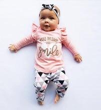 81f811c37 2018 Nova Outono Do Bebé Roupas Definir Algodão T-camisa + Calça + Headband  do 3 pcs Roupas Infantis Recém-nascidos C..