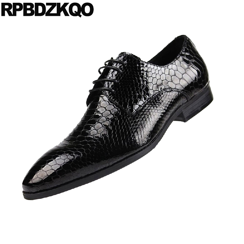 Men's Shoes Collection Here Alligator Dress Prom Snake Skin Big Size Men Brand Luxury Crocodile Shoes Black Oxfords Italian Snakeskin Patent Leather Office Save 50-70% Formal Shoes