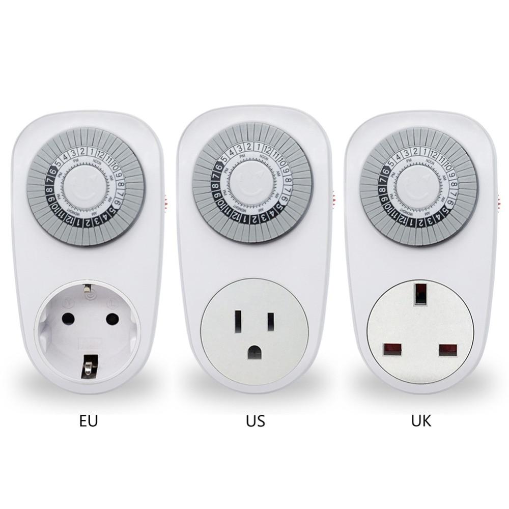 EU/US/UK Plug 24 Hour Timer Switch Socket Mechanical Programmable Power Switch Electrical Plug Converters Sockets цена
