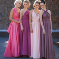 Convertible Off the Shoudler Bridesmaid Dress Muticolored Pleated Chiffon Wedding Guest Dress with Sashes Vestidos De Noche