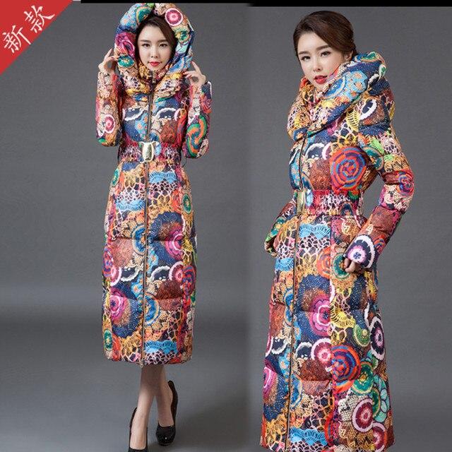 Длинное пальто женская куртка новый печати был тонкий вниз хлопка мягкий толстый слой ветровка