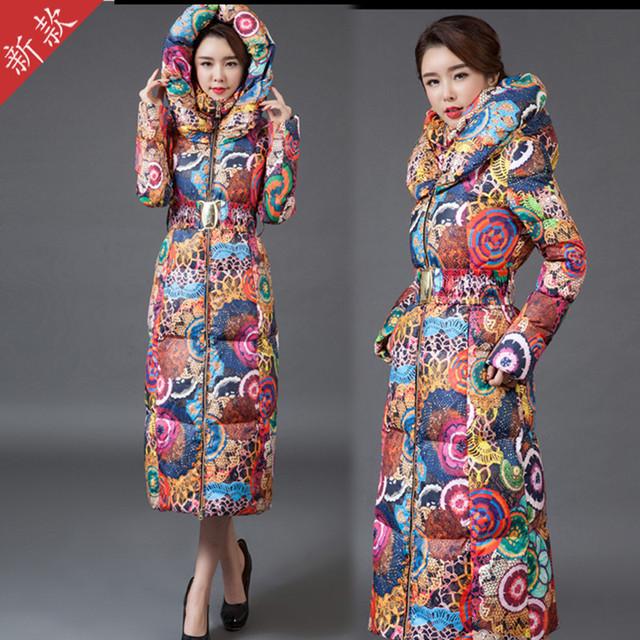 Abrigo largo chaqueta para mujer nueva impresión era delgada abajo de algodón acolchado grueso abrigo rompevientos
