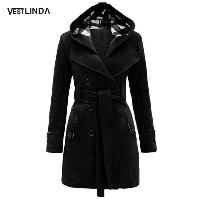 VESTLINDA Модные Женщины Осень Зима Пальто Дамы Сплошной Цвет Моды Карман Пальто с Поясом Зима Длинное Пальто для Женщин