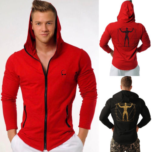 2018 New Men's Winter Slim Zipper Hoodie Warm Hooded Sweatshirt Coat Jacket Outwear