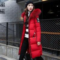 Patch Designs Women Winter Jacket Padded Long Parkas with Big Hooded Raccoon Fur Slim Jaqueta Feminina Inverno Large Size DJ28