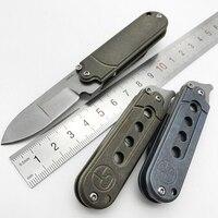 Small Field Cleaver S35vn Steel Folding Knife TC4 Titanium Handle Ball Bearing Satin Blade 60Hrc Survival