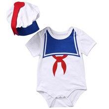 19a4ffa82d43 2pcs Newborn Baby Boys Girls Clothes Cute Short Sleeve Navy Romper Jumpsuit  Sun suit+Hat Sailor Baby Outfits Set Baby Romper