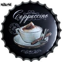 [ Mike86 ] Cappuccino Coffee Bottle Cap Iron Painting Vintage sign Pub Room Gift Party Cafe Store Wall Decoration 40 CM BG 6