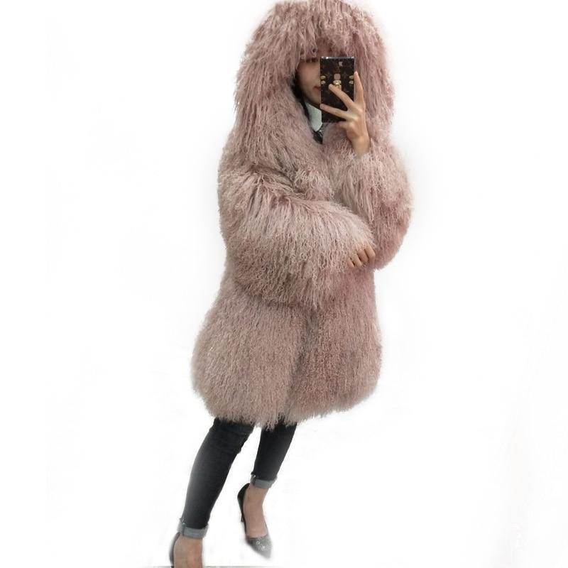 Naturlig stranduld fuld læder lang design frakke mongolien får pels overjakke outerwear jakke kvinder med en hætte kvindelige