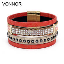 VONNOR Jewelry Women Bracelet Multilayer Leather Rhinestone Accessories Female Bracelets & Bangles with Magnetic Clasp