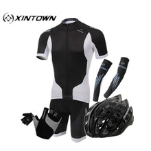 XINTOWN Black Style Handsome Bicycle Jersey Sets Bicycle Arm Sleeve Cycling helmet Quick Dry bike gloves Pants Cycling Jerseys