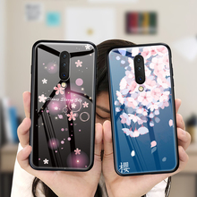 Tempered Glass Phone Case For Oneplus 7 Pro 6 6T 5 5T Luxury Cherry Blossoms Back Cover